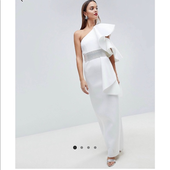 ASOS Edition Scuba one shoulder ruffle maxi dress